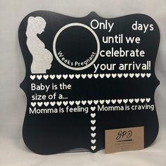Weekly Pregnancy Photos, Pregnancy Countdown, Girl Costumes, Photo Props, Drink Sleeves, Toddler Girl, Chalkboard, Card Stock, Feelings