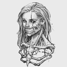 Тату эскиз скелет девушки монстра Creepy Drawings, Dark Art Drawings, Tattoo Design Drawings, Pencil Art Drawings, Art Drawings Sketches, Tattoo Sketches, Tattoo Outline Drawing, Arte Horror, Horror Art