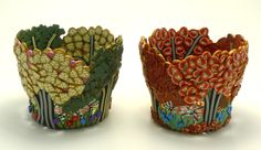 """Spring/Fall Series.  Spring includes my favorite gingko leaves.  3"""" tall x 4"""" dia  Emily Squires Levine"""