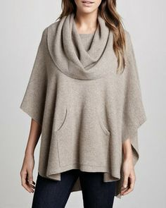 360Sweater Heather Cashmere Draped Poncho
