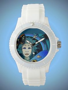 Women's Sporty White Silicon Watch - Fairy with Butterfly and Fishes