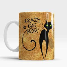 Crazy Cat Mom - Cute Coffee Tea Mug  *About the Mugs: - 300 ml = 11 oz mug, Height ~ 9,5cm, Diameter ~ 8,5cm; - White color of the cup - Can be used for Hot and Cold beverages - Design may vary slightly from the photograph - each are made per order - The design will be printed on both sides of the mug, so no matter which hand you hold it in, it will be visible to everyone.  Care instructions: Microwave safe Dishwasher safe, but I would recommend hand washing to maintain the vibrant color...