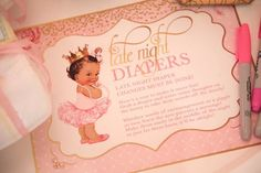 "Late night diaper notes from Pink ""Tutu Cute"" themed Ballerina Baby Shower from Kara's Party Ideas. See more at karaspartyideas.com!"