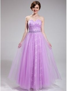 A-Line/Princess Sweetheart Floor-Length Tulle Lace Prom Dress With Ruffle Beading Sequins (018025285) - JJsHouse