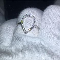 choucong Hollow Jewelry Pear Shape Real Soild 925 sterling Silver ring AAAAA Zircon Engagement Wedding Band Rings For Women men Engagement Ring Types, Silver Engagement Rings, Womens Wedding Bands, Wedding Ring Bands, 925 Silver, Sterling Silver Rings, St Michael Pendant, Cleaning Silver Jewelry, Princess Cut Rings