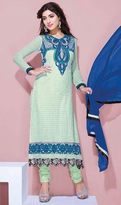 Cyan Blue Shade Viscose Churidar Dress Price: Usa Dollar $121, British UK Pound £71, Euro89, Canada CA$131 , Indian Rs6534.