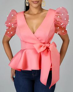 Beading Puff Sleeve Pink Bloues Tops Summer African 2020 Sexy Party Dinner Club Shirts Tops Femme High Waist Lace Up Lady Shirts Trend Fashion, Estilo Fashion, Fashion Design, Plus Size Online Shopping, Womens Fashion Online, Summer Tops, Types Of Fashion Styles, Pattern Fashion, Blouse Designs