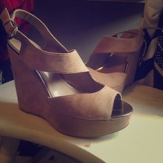 Maurice's suede tan wedges size 9 BEAUTIFUL  Suede cutout wedges, very easy to walk in with the platform! So cute. Only worn a few times. Has silver hardware! Maurices Shoes Wedges