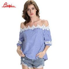 Blue Stripes Sexy Off the Shoulder Blouse Shirt Summer Women Clothes Half Sleeve Loose Casual Tops Plus Size Lace Blusas