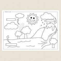 Childrens colouring in activity - Water Cycle Activity Sheet - CleverPatch Kindergarten Report Cards, Kindergarten Colors, Kindergarten Activities, Educational Activities, Water Cycle Activities, Weather Activities, Coloring Sheets For Kids, Coloring Pages, Wow Journey