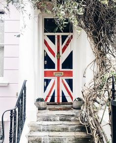 This Ivy House Front doors Union Jack colorful steps Painted doors When One Door Closes, Cool Doors, Unique Doors, Ivy House, House Front, Grand Entrance, Closed Doors, Door Knockers, Doorway