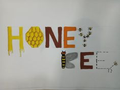 Honey Bee Lettering, understand forms of lettering broadly & Achievement of beauty creation through letter set-up. elementary intermediate drawing grade examination government Maharashtra Elementary Drawing, Beauty Creations, Letter Set, Describe Yourself, Drawing For Kids, Watercolor Paintings, Bee, Honey, Calligraphy