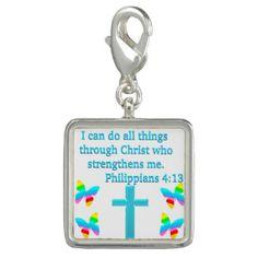 INSPIRING PHILIPPIANS 4:13 DESIGN CHARMInspiring and uplifting Christian Jewelry.  http://www.zazzle.com/myheavenlyblessings/jewelry?dp=252880112189019707&rf=238246180177746410 #ChristianJewelry #Christiangifts #Scripturejewelry #Scripturegifts #Bornagain #JesusisLord