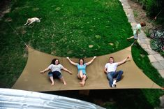 Host an orgy of relaxation in your backyard when you install the mega hammock! This gargantuan hammock – at what point is this not classified as a tarp? – is custom made out of a tough bonded nylon thread and is built to handle several people all at once. Outdoor Fun, Outdoor Spaces, Outdoor Living, Outdoor Life, Outdoor Ideas, Outdoor Camping, Diy Jardin, Picnic Blanket, Outdoor Blanket