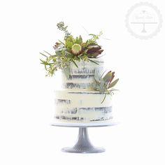 Semi-naked wedding cake with Australian native flowers