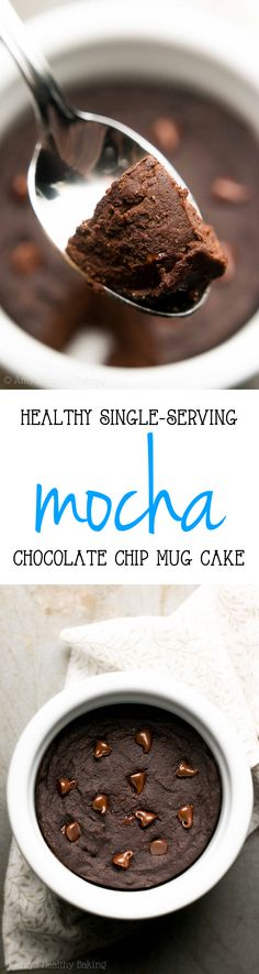 Easy & Healthy Single-Serving Mocha Chocolate Chip Mug Cake -- only 121 calories & tastes like a fudgy brownie! I'm obsessed with this recipe!