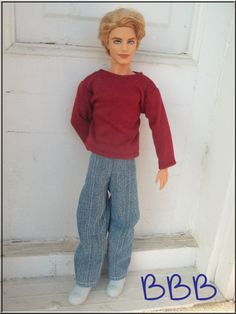 RED BURGUNDY COTTON KNIT PANTS FOR  KEN DOLL