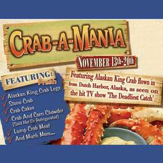 CRAB-A-MANIA! The oh-so-short King Crab season is here, featuring fresh Florida STONE CRAB CLAWS (we'll crack 'em for you) & Alaskan prized JUMBO REDS (shipped direct from Dutch Harbor, as seen on TV's 'The Deadliest Catch'). CRAB & CORN CHOWDER (hot or refrigerated) will wow your taste buds, along with lots more ON SALE thru Wed.