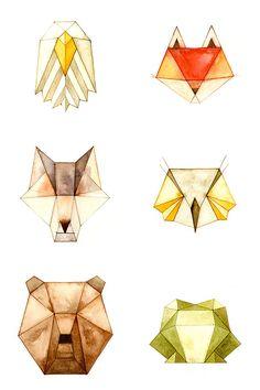 #Animaux géométriques #aquarelle  #watercolor (CatherineLazarOdell)