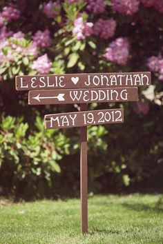wood wedding sign - couple's name & date : or a version of this. so cute.