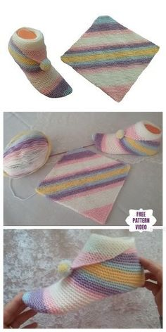 Super simple slippers from Square Free Knitting Pattern - video knitted ideas Knitted Slippers, Crochet Slippers, Crochet Hats, Knit Crochet, Knitted Baby, Knitted Shawls, Baby Knitting Patterns, Crochet Patterns, Stitch Patterns
