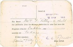 1916 (10 May) Travel Pass issued at Monkstown