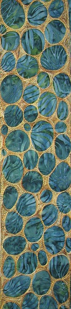 FMQ River Rock Border-this is the border I created for my husband's quilt. There is no blog source because I uploaded it from my Pictures.  I used Coats and Clark 100% cotton variegated quilting thread in colorway #812-Sandstone on teal batik. Using free motion quilting, quilt big circles leaving some space in between them. Fill in the empty spaces with more FMQ. This technique takes a LOT of thread.