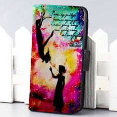 Peter Pan and Wendy Galaxy Nebula Disney wallet case for iphone 4,4s,5,5s,5c,6 and samsung galaxy s3,s4,s5 - LSNCONECALL.COM