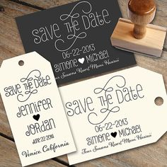 Save the Date Stamp with a heart and calligraphy by Designkandy, $28.00