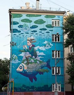 Rustam QBic Mural In Moscow, Russia