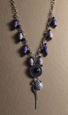 Plumb and Gray Paper Bead Necklace by KDCherishedCreations on Etsy https://www.etsy.com/listing/214580857/plumb-and-gray-paper-bead-necklace