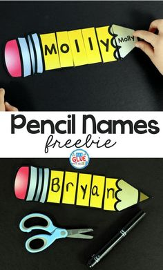 Pencil Names Freebie Pencil Names - Name Building Practice Printable comes with eight editable pages, containing two pencils. Each pencil has pieces for two letter names up to nine letter names. Getting Pencil Names - Name Building Practice Printable Kindergarten Names, Preschool Names, Preschool Learning, Kindergarten Classroom, Classroom Activities, Preschool Activities, Free Preschool, Educational Activities, Name Writing Activities