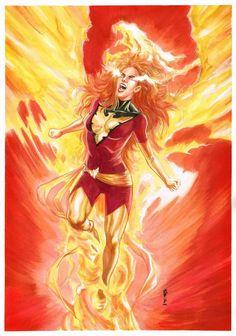 Dark Phoenix of X-Men (Jean Grey) by Garrie Gastonny - Open for commissions… Jean Grey Phoenix, Dark Phoenix, Phoenix Marvel, Phoenix Force, Phoenix Art, Marvel Comics Art, Marvel X, Marvel Heroes, Captain Marvel