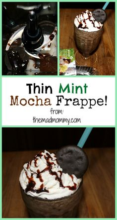 Use some of your delicious Thin Mints to make this awesome recipe! The Thin Mint Mocha Frappe is an easy and delicious Thin Mint recipe! Coffe Recipes, Mint Recipes, Dessert Recipes, Desserts, Bar Recipes, Sweet Recipes, Mocha Frappe Recipe, Frappuccino Recipe, Yummy Treats