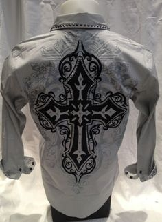 Victorious Cross Tribal Button Down Dress Shirt Grey Roar With Excitement SH357 #ButtonFront