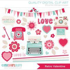 Valentines Day / Retro Valentine Clipart / Clip by MyClipArtStore, $4.50