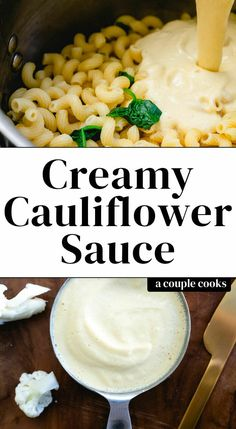 This creamy cauliflower sauce is a like a healthy alfredo sauce using cauliflower as a base. It has less calories and all the benefits of this healthy veggie!) – A Couple Cooks Healthy Pasta Sauces, Pasta Sauce Recipes, Healthy Pastas, Low Calorie Pasta Sauce, Healthy Alfredo Sauce Recipe, Califlour Recipes, Vegetarian Recipes, Cooking Recipes, Healthy Recipes