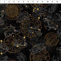 Zodiac Black - Celestial Collection - In the Beginning - Jason Yenter - Half Yard by BywaterFabric on Etsy https://www.etsy.com/listing/253063585/zodiac-black-celestial-collection-in-the