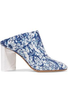 Maison Margiela - Floral-print Leather Mules - Blue - IT36