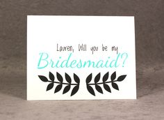 Personalized Will You Be My Bridesmaid Card with Name on Card, Select Color and Pattern, Flat Rate Shipping - pinned by pin4etsy.com