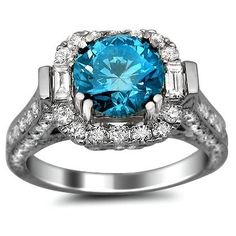 3.53ct Fancy Blue Round Diamond Engagement Ring 18k White Gold by sofywall
