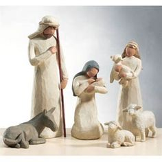 """This beautiful 6 piece set stands at 9.5 inches tall and includes Joseph, Mary holding baby Jesus and 4 other figurines. The gift card with this Willow Tree figurine set reads """"Behold the awe and wonder of the Christmas Story."""""""
