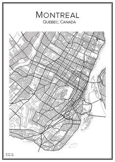 Stadskarta över Montreal Montreal Canada, Wall Decor, Wall Art, City Maps, Lights Background, Cartography, Toronto, Black And White, History