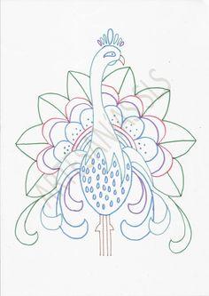 Diseño para Bordado Mexicano. ♥ Pavo Real ♥ Si quieres aprender Bordado Mexicano búscame en Youtube en ARTESANíAS SLS. Allí aprenderás a bordar este diseño.