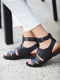 Howl at the Moon Sandal | Handmade textured leather sandals with buckle detail and ankle strap. Padded insoles.  *By Jeffrey Campbell