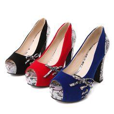 EGONERY модные туфли-лодочки женщины 2017 Лето Осень на платформе Обувь на высоком каблуке красная Свадебная обувь с открытым носком с бантом Большие размеры женские туфли-лодочки 43