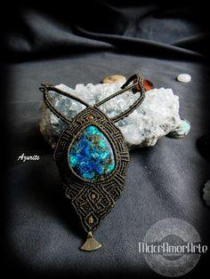 NEW Azurite Macrame Necklace. Azurite stone. Indigo by MacrAmorArt