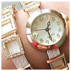 TWO LEFT! T&J DESIGNS LAYERED WATCH! T&J DESIGNS GOLD & WHITE LAYERED WATCH! See photo #4 above ⬆️ for details. TWO LEFT! These are hard to find on Posh! I love this watch; kept one for myself, and I wear it daily. Always get compliments.Get yours before they are gone! ✅Price is for each; Firm unless bundled.✅ T&J Designs Jewelry