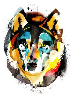 Alvaro Tapia Hidalgo Wolf 1 Art Print - gorgeous use of color, shape, contrast and texture.