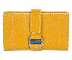 Portafoglio da donna in pelle land giallo - 16x9x3 cm